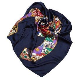 Chanel-Chanel Blue CC foulard en soie d'impression-Bleu,Multicolore