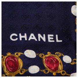 Chanel-Foulard en soie imprimée bleu Chanel-Bleu,Multicolore,Bleu Marine
