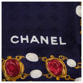 Chanel-Chanel Blue Printed Silk Scarf-Blue,Multiple colors,Navy blue