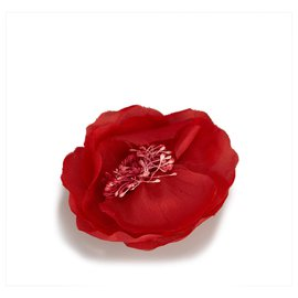 Chanel-Chanel Red Fabric Camellia Brooch-Red