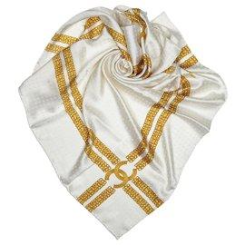 Chanel-Echarpe en soie imprimée blanche Chanel-Blanc,Doré