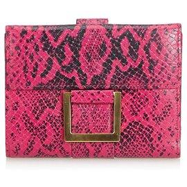 Yves Saint Laurent-YSL Pink Python Print Leather Wallet-Black,Pink