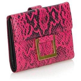 Yves Saint Laurent-Portefeuille YSL en cuir imprimé python rose-Noir,Rose