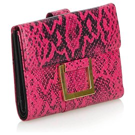 Yves Saint Laurent-YSL Pink Python Print Leather Wallet-Black,Pink