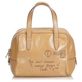 Yves Saint Laurent-YSL Brown Y Mail Lacklederhandtasche-Braun