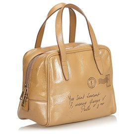 Yves Saint Laurent-YSL Brown Y Mail Patent Leather Handbag-Brown
