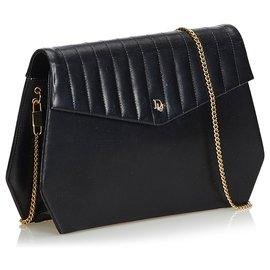 Dior-Sac à bandoulière chaîne en cuir noir Dior-Noir