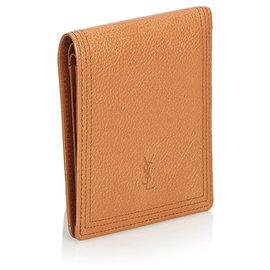 Yves Saint Laurent-YSL Brown Leather Wallet-Brown,Light brown