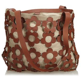 Céline-Celine Brown Floral Hemp Tote Bag-Brown