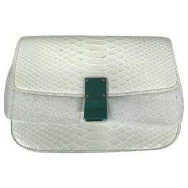 Céline-CELINE CLASSIC BOX MEDIUM PYTHON BAG CROSSBODY BAG-White