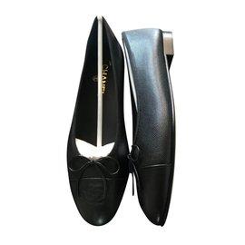 Chanel-CHANEL CAVIAR BALLERIN BALLET FLAT NEW-Black