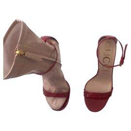 Gucci-SANDALE GUCCI ILSE SOCK-Rouge,Beige