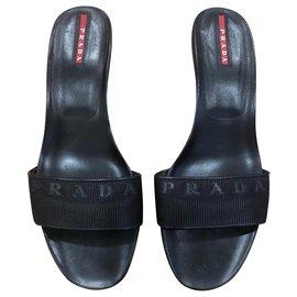 Prada-Logo mules-Black