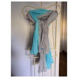 Ikks-IKKS scarf cotton crinkle neckline NEW-Grey,Turquoise