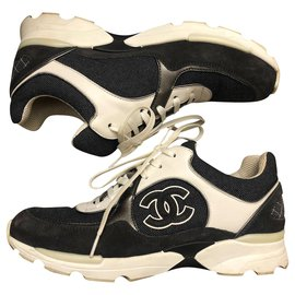 Chanel-Sneakers-White,Dark blue