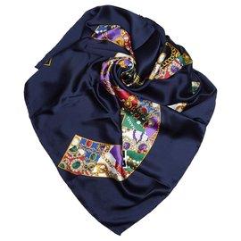 Chanel-Chanel Écharpe en soie imprimée Cs entrelacée bleue-Bleu,Multicolore,Bleu Marine