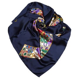 Chanel-Chanel Blue Interlocking Cs Printed Silk Scarf-Blue,Multiple colors,Navy blue