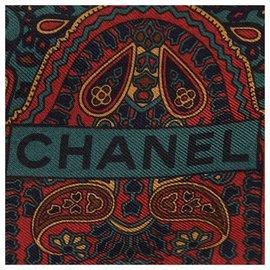 Chanel-Foulard en soie imprimée bleu Chanel-Bleu,Multicolore,Turquoise