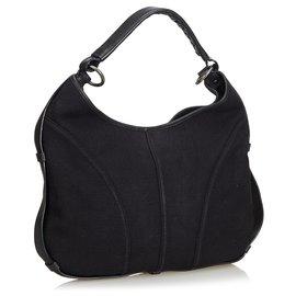 Yves Saint Laurent-YSL Black Canvas Shoulder Bag-Black