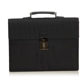 Gucci-Gucci Porte-documents en nylon noir-Noir