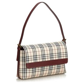 Burberry-Burberry Multi House Check Cotton Shoulder Bag-Red,Multiple colors