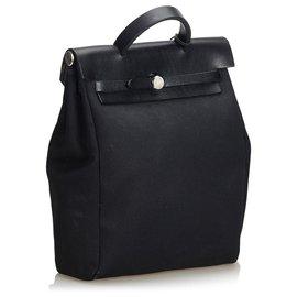 Hermès-Sac à dos Hermes en toile noire Herbag-Noir