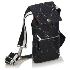 Chanel-Chanel Black Old Travel Line Belt Bag-Black,White