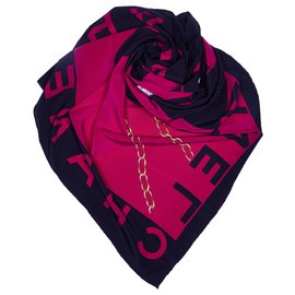 Chanel-Chanel Pink Printed Silk Scarf-Black,Pink,Other