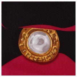 Chanel-Foulard en soie imprimée rose Chanel-Noir,Rose,Autre