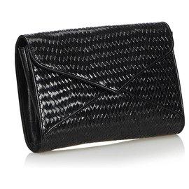 Yves Saint Laurent-Pochette YSL en cuir tissé noir-Noir