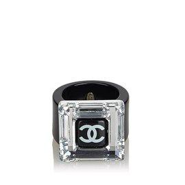 Chanel-Bague Chanel Noir CC-Noir,Argenté