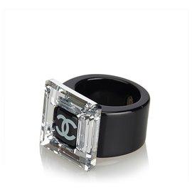 Chanel-Chanel Black CC Ring-Black,Silvery