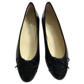 Chanel-CHANEL BLACK LEATHER PAINT BALLERINAS-Black