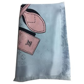 Louis Vuitton-LOUIS VUITTON FOULARD STOLA NEW-Rose,Gris
