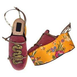 Gucci-Escarpins en velours PRINCETOWN GUCCI Hannelore à plateau amovible-Multicolore