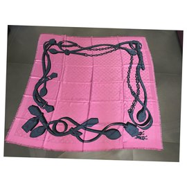 Louis Vuitton-LOUIS VUITTON FOULARD STOLA SILK WOOL SCARF-Rose
