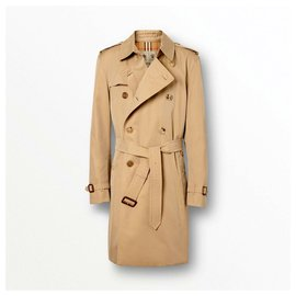 Burberry-BURBERRY The Kensington Mid Heritage Polyester Trench Coat in Beige-Beige