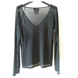Chanel-CHANEL  PERFORATED VISCOSE TOP-Black