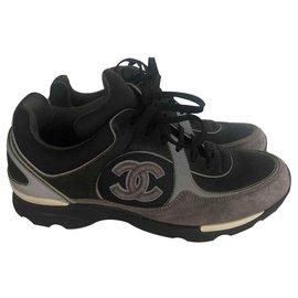 Chanel-Chanel sneakers-Silvery,Grey,Dark grey