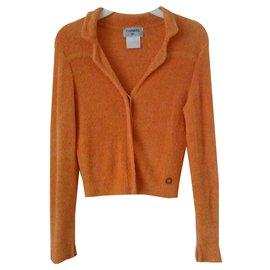 Chanel-CHANEL Jacket orange  in mixt Cotton stretch-Orange