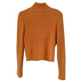 Chanel-Veste CHANEL orange en coton stretch-Orange