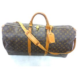 Louis Vuitton-KEEPALL 60 BANDOULIERE MONOGRAM-Marron