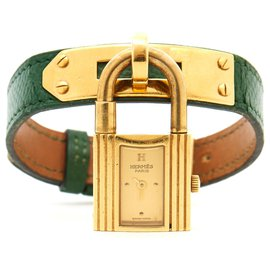 Hermès-KELLY GREEN GOLD-Golden,Green