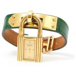 Hermès-KELLY GREEN GOLD-Doré,Vert