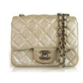 Chanel-Chanel Silver Gold square mini 255 Lambskin Single Flap Bag gunmetal hardware-Silvery