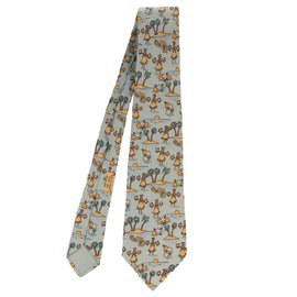 "Hermès-Hermès silk tie patterned ""palm tree & tahitian dancer"" in very good condition!-Light blue"