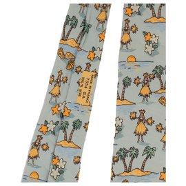 """Hermès-Laço de seda Hermes estampado """"palmeira e dançarina do Tahiti"""" em muito bom estado!-Azul claro"""