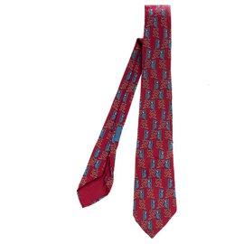 "Hermès-Hermès printed silk tie, motive: ""Panda"" in very good condition!-White,Red,Blue"