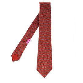 Hermès-Hermès printed silk tie with geometric print, In very good shape!-Red