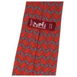 Hermès-Hermes estampado gravata de seda com estampa geométrica, em muito bom estado!-Vermelho